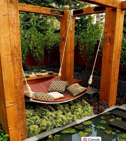 手作りのマイホーム、庭、ミニシアター、ハンモック